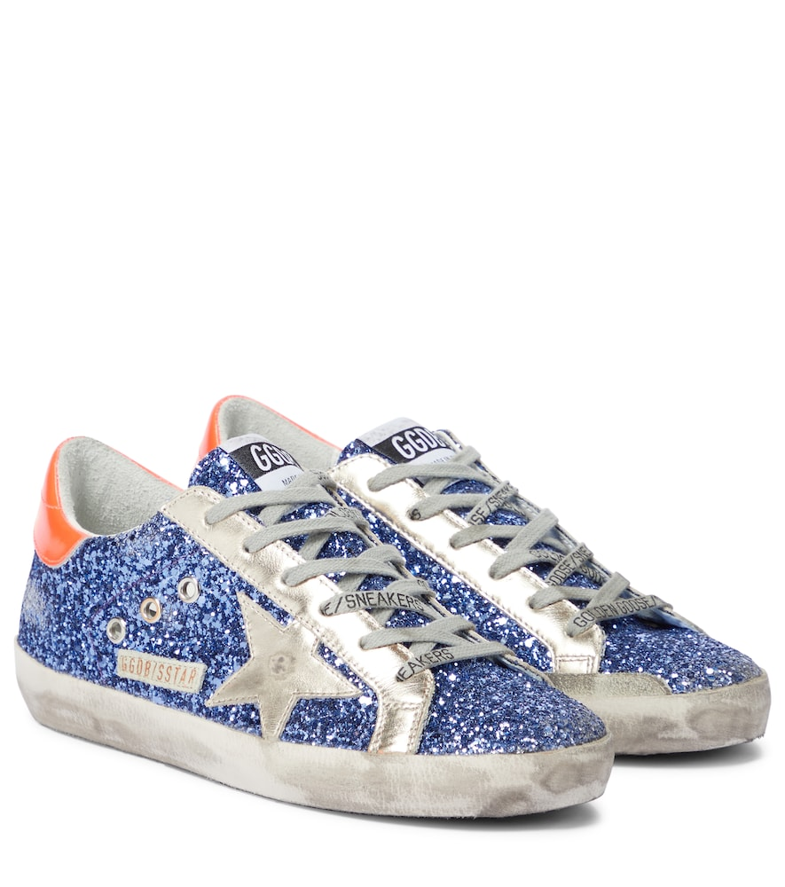 Superstar glitter and leather sneakers