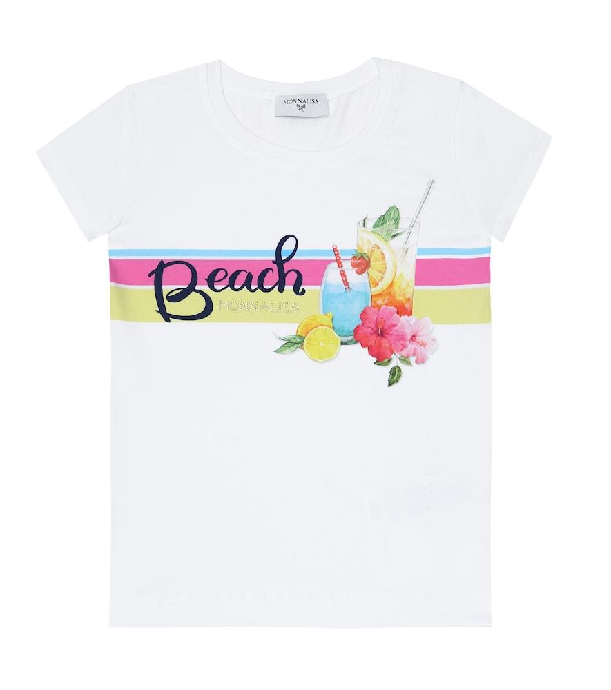 T-shirt imprimé en coton mélangé