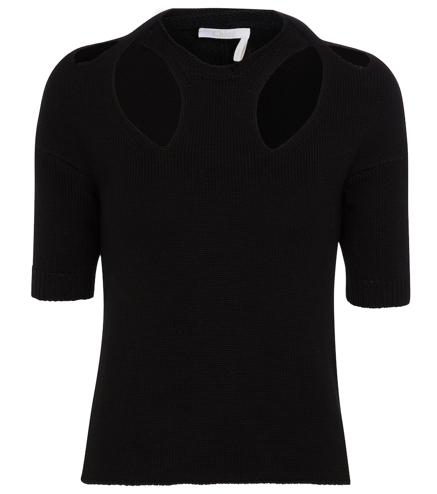 Chloé CUT-OUT COTTON AND WOOL SWEATER