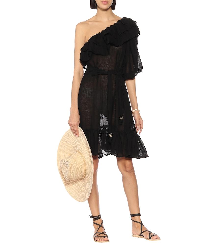 Arden one-shoulder linen-blend dress by Lisa Marie Fernandez