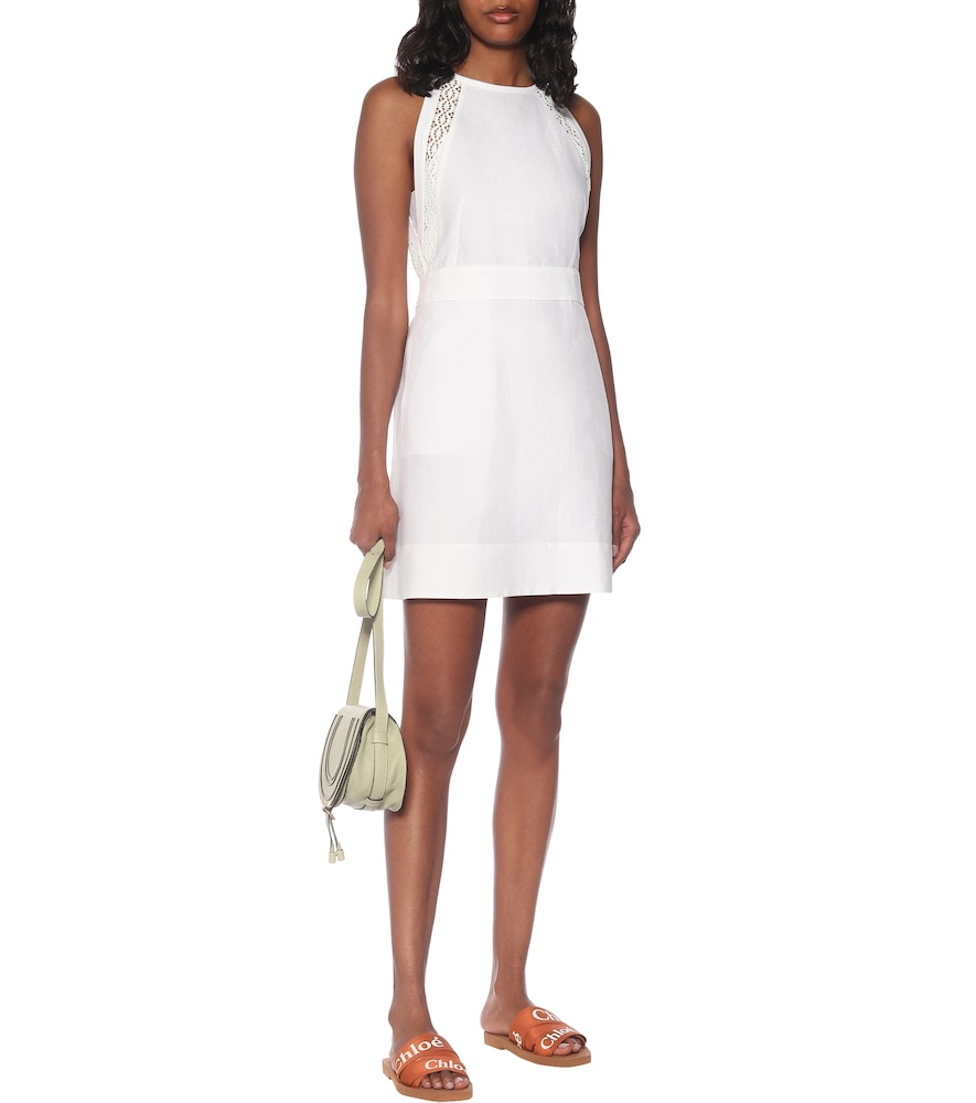 Lace-trimmed linen and cotton minidress by Chloé