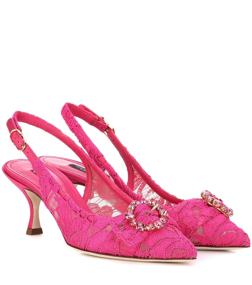 Satin-Trimmed Crystal-Embellished Corded Lace Slingback Pumps in Pink