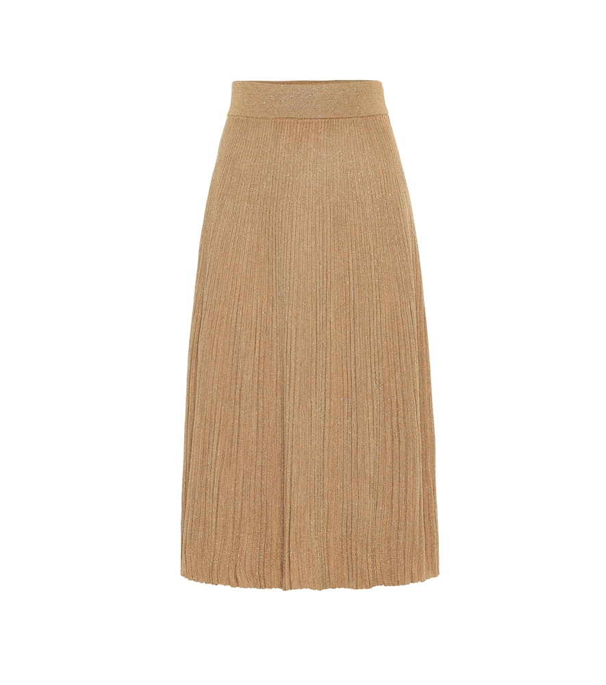 Metallic wool-blend midi skirt