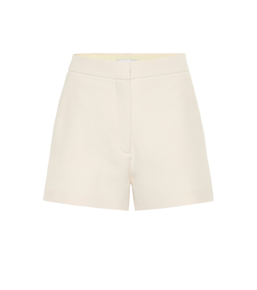 Valentino High-Rise Wool And Silk Shorts In White