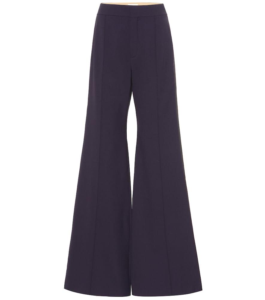 Pantalon évasé en laine mélangée à taille haute - Chloé - Modalova
