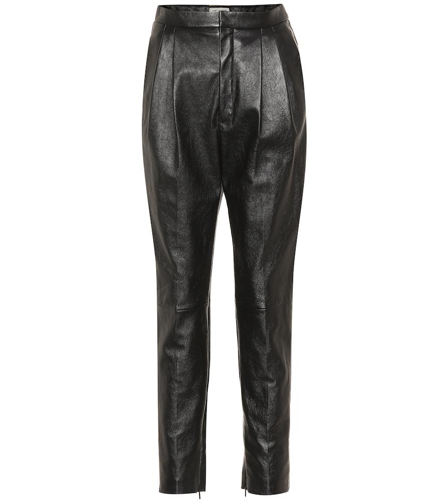 Pantalon droit à taille haute en cuir - Saint Laurent - Modalova
