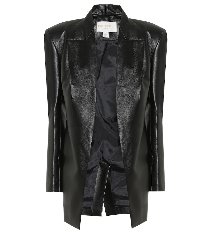 Faux leather longline blazer