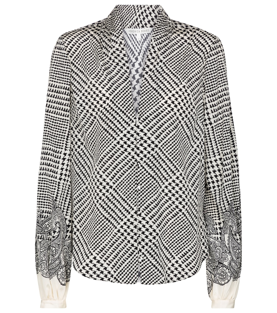 Veronica Beard BEATA CHECKED STRETCH-SILK BLOUSE