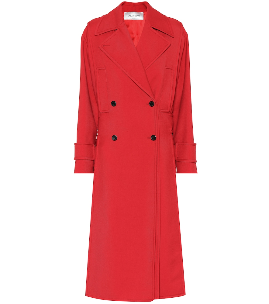 Valentino Wool-Blend Trench Coat In Red