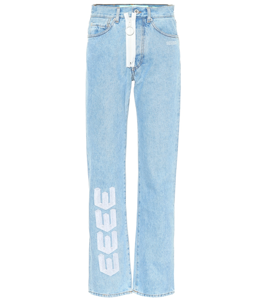 Logo-Embroidered High-Rise Straight-Leg Jeans, Blue