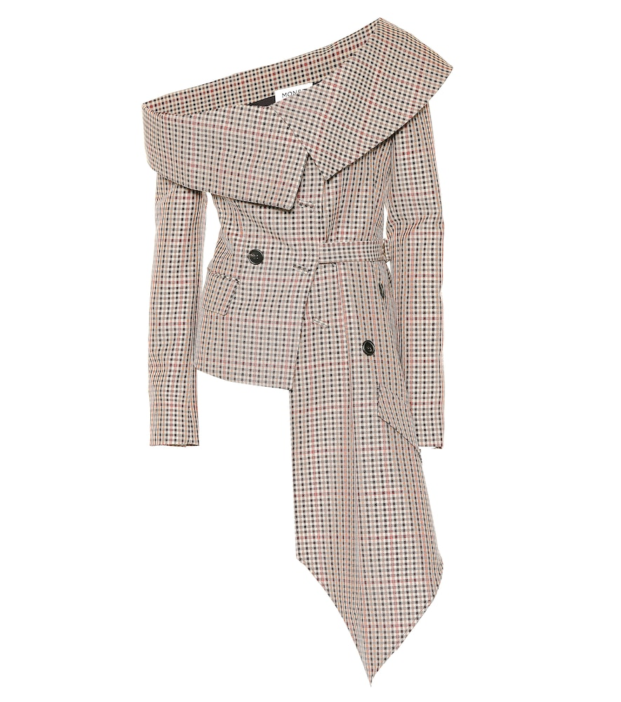PLAID OFF-THE-SHOULDER JACKET from Mytheresa