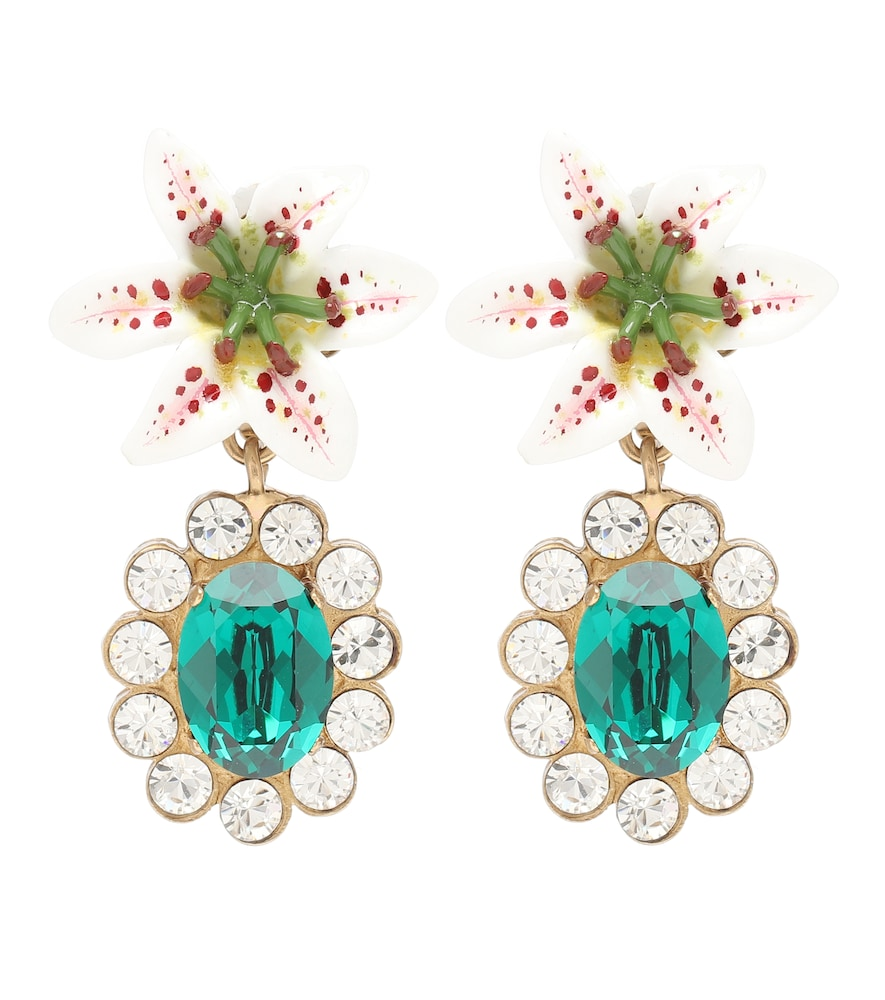 DOLCE & GABBANA | Embellished Floral Clip-On Earrings | Goxip