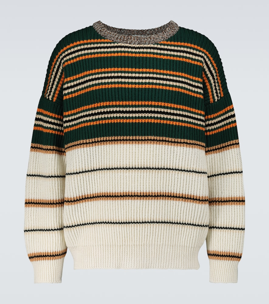 Loewe Striped Cotton-blend Jersey Sweater In Multicoloured