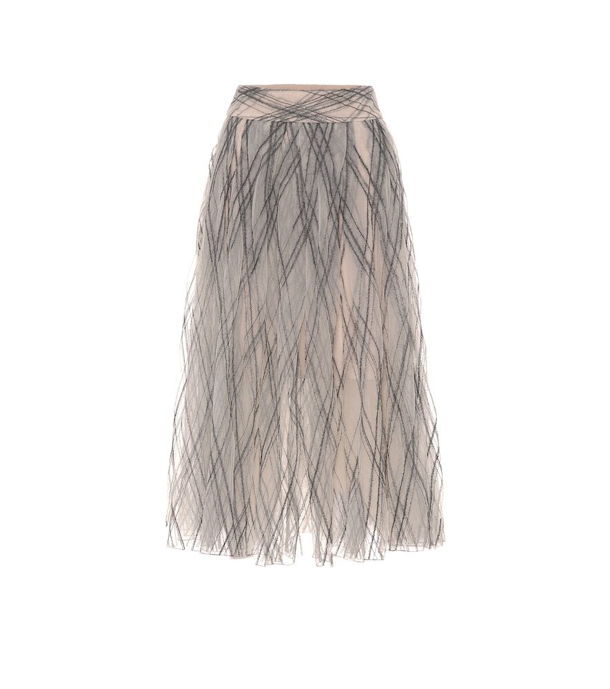 Brunello Cucinelli Skirts EMBELLISHED TULLE MAXI SKIRT