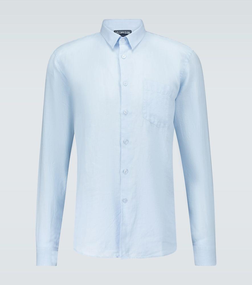 Vilebrequin Caroubis Linen Shirt In Blue