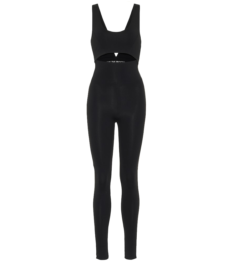 Live The Process Cutout Stretch-jersey Bodysuit In Black