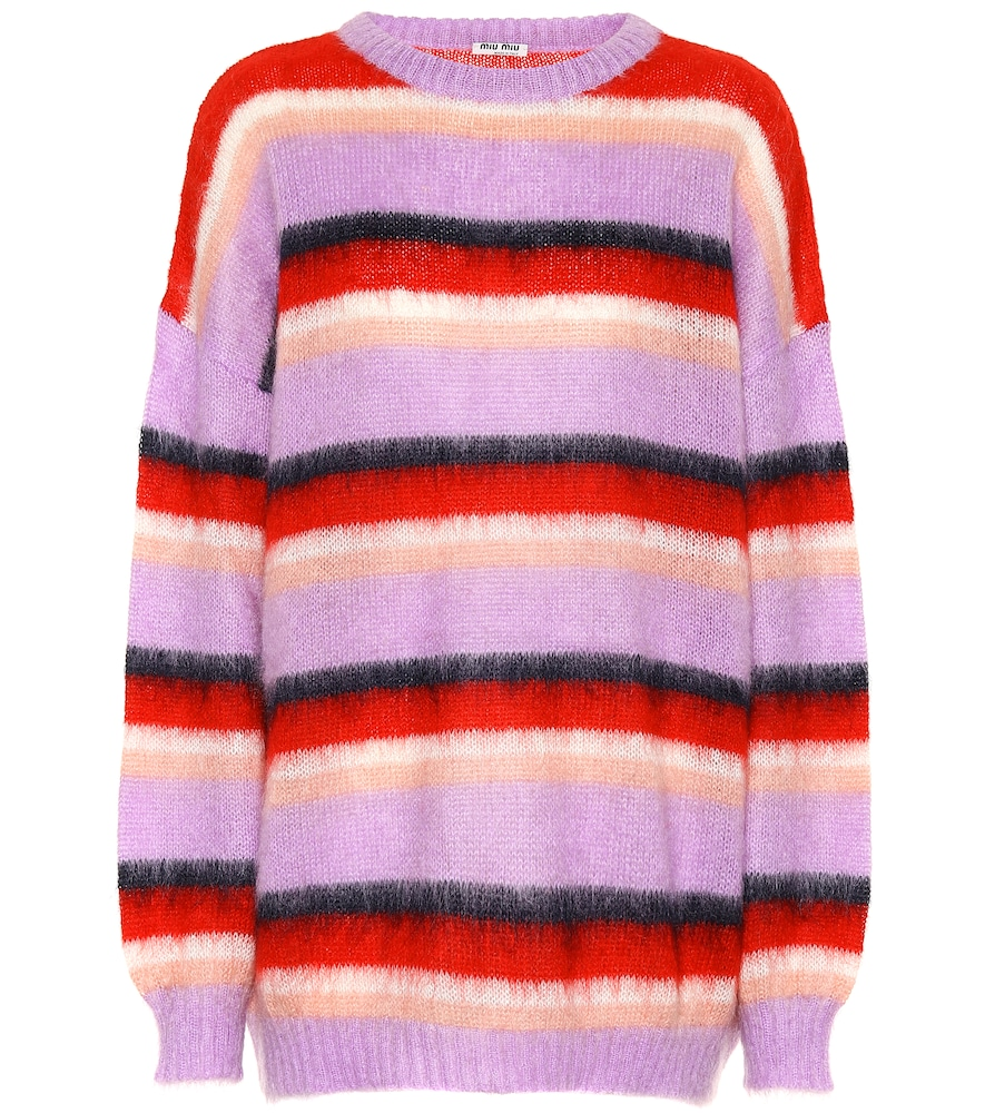Oversized Striped Mohair-Blend Sweater, Female