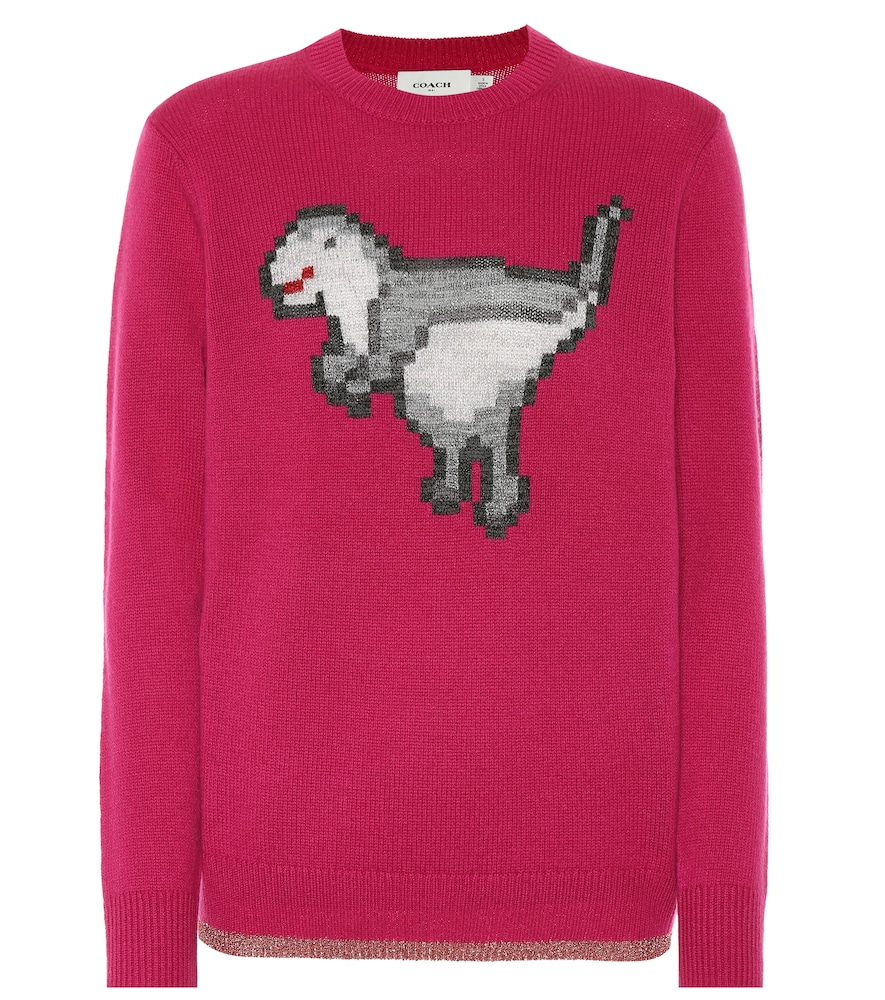 Pixel Rexy Graphic Wool-Cashmere Sweater in Pink