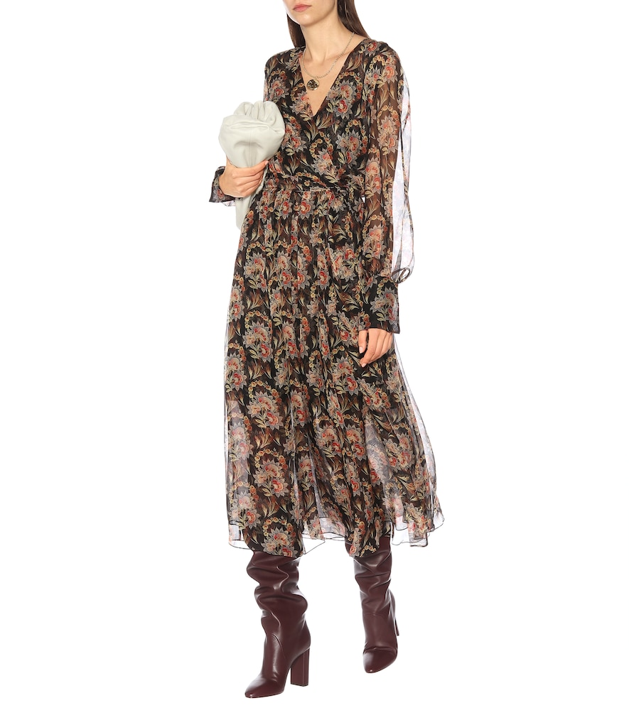 Floral silk-chiffon wrap dress by Oscar de la Renta