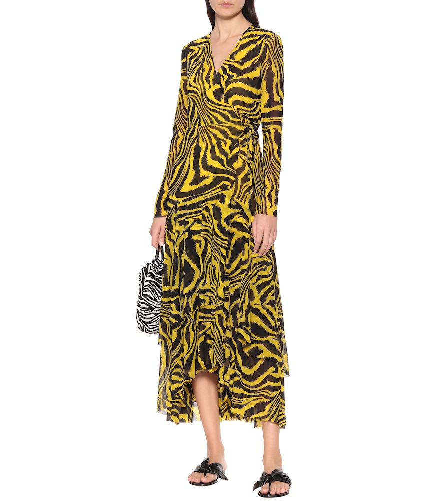 Exclusive to Mytheresa - Animal-print mesh wrap dress by Ganni