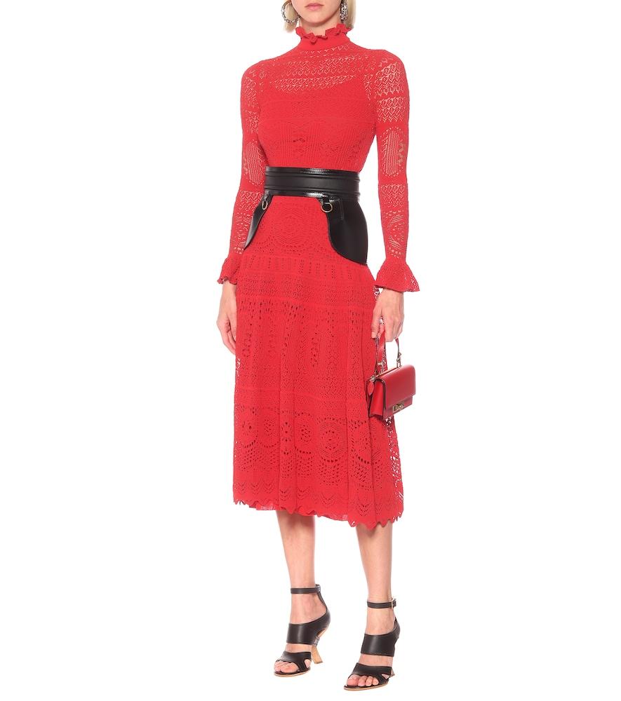 Cotton-blend lace midi dress by Alexander McQueen