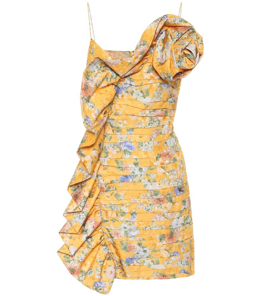 Robe asymétrique en soie à fleurs