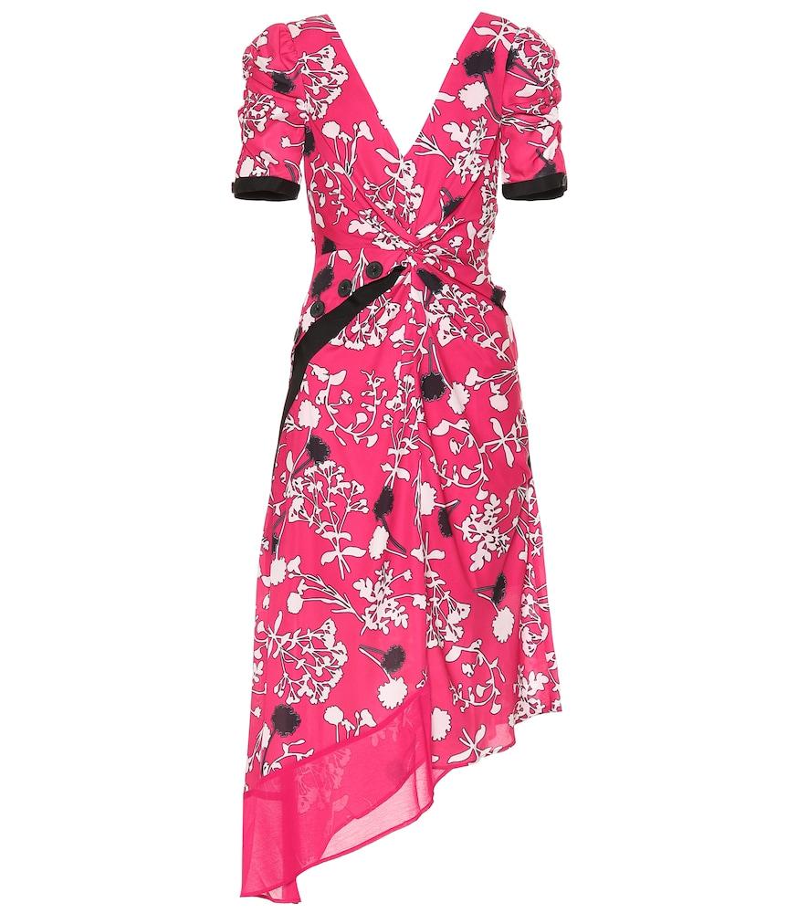 Asymmetric Floral-Print Crepe De Chine Midi Dress in Pink