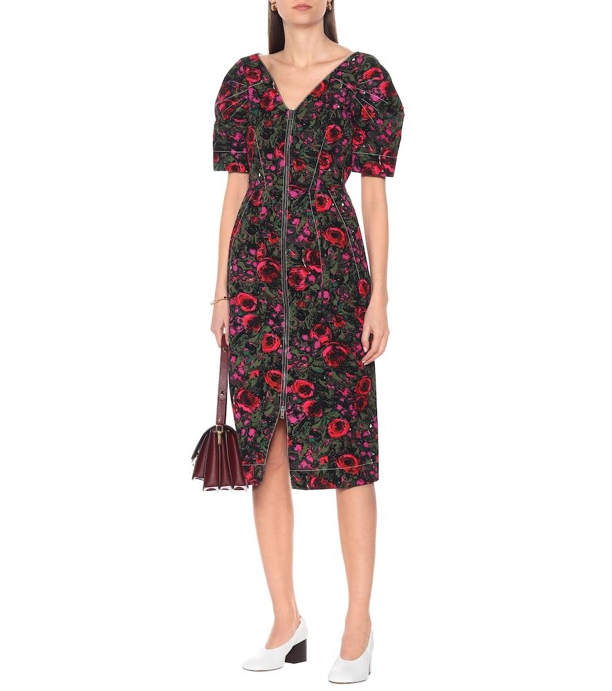 Floral cotton-blend twill midi dress by Marni