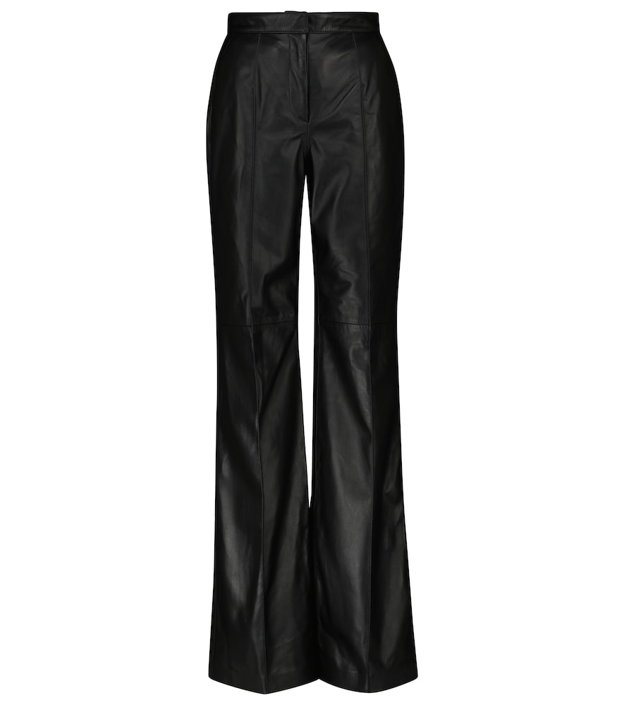 Denie high-rise leather straight pants