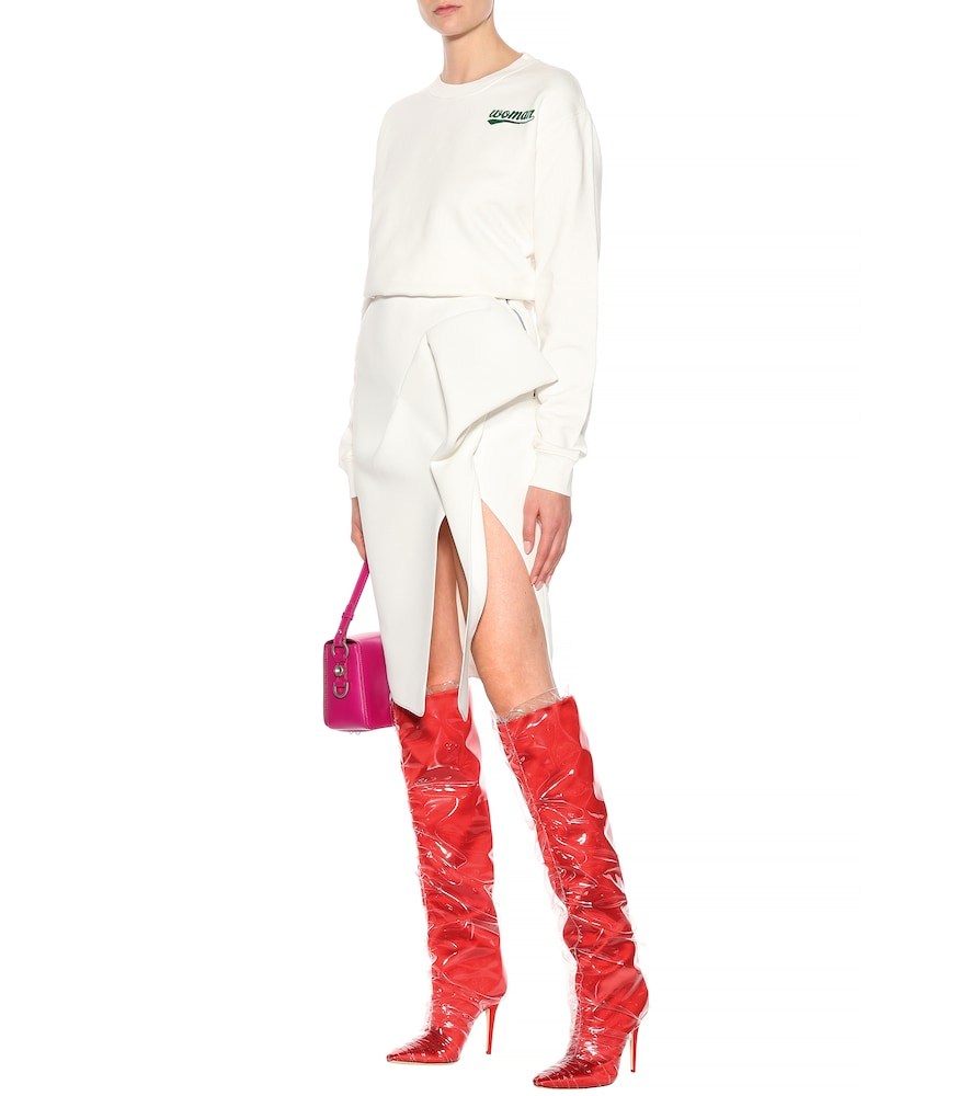 x Off-White Elisabeth 100 satin boots by Jimmy Choo