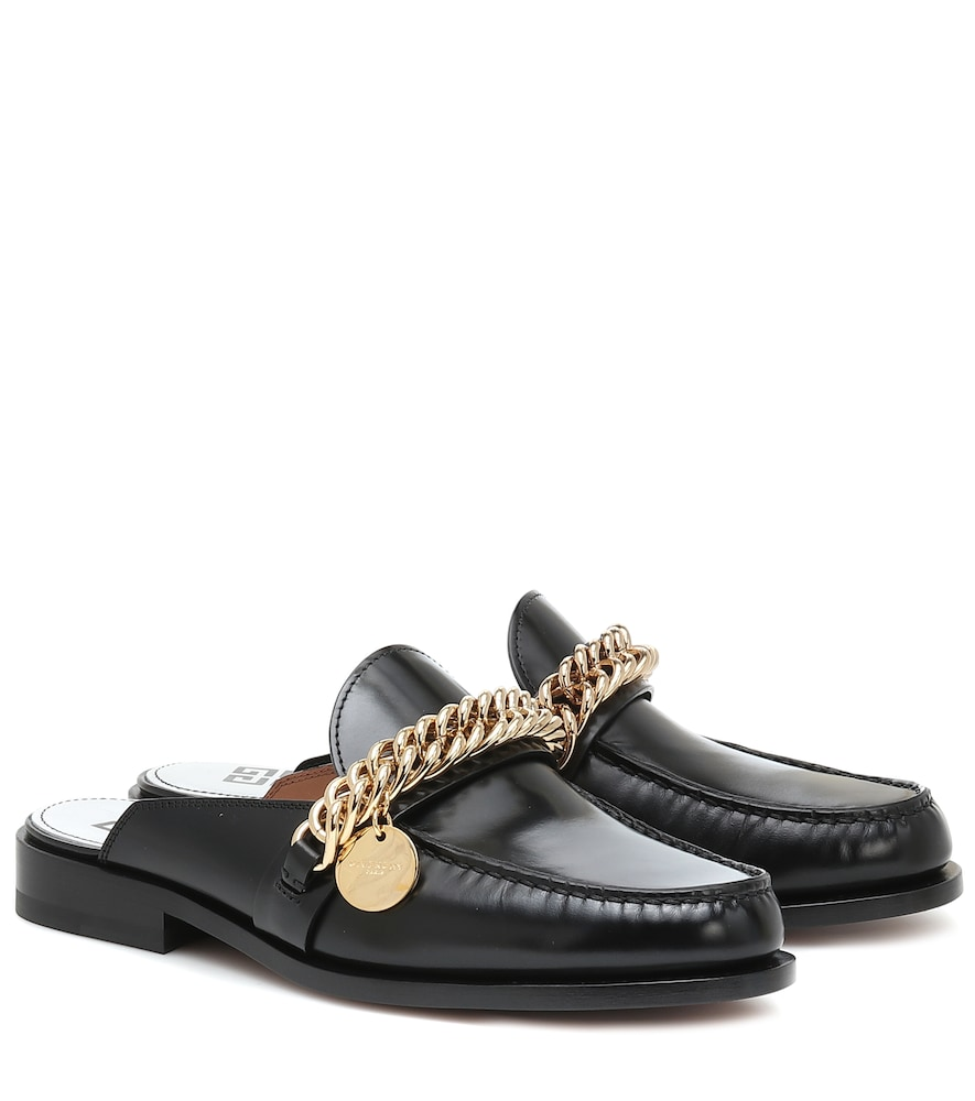 Givenchy CHAIN-TRIMMED LEATHER SLIPPERS