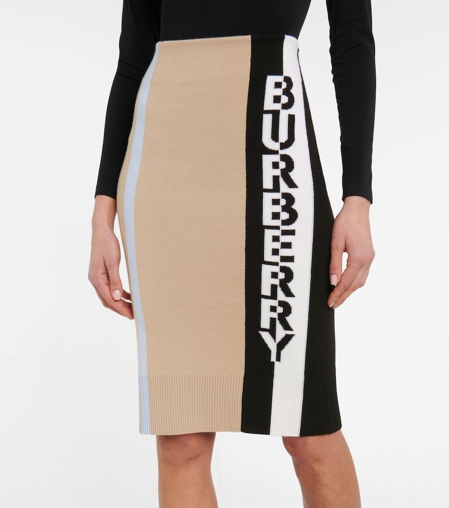 BURBERRY Midi skirts LOGO JACQUARD MERINO WOOL PENCIL SKIRT