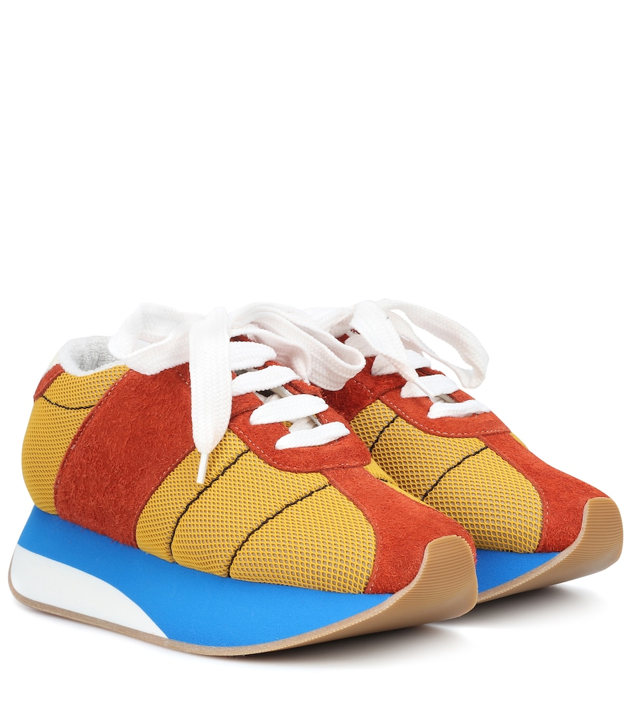 Big Foot Suede And Mesh Sneakers in Multicolour