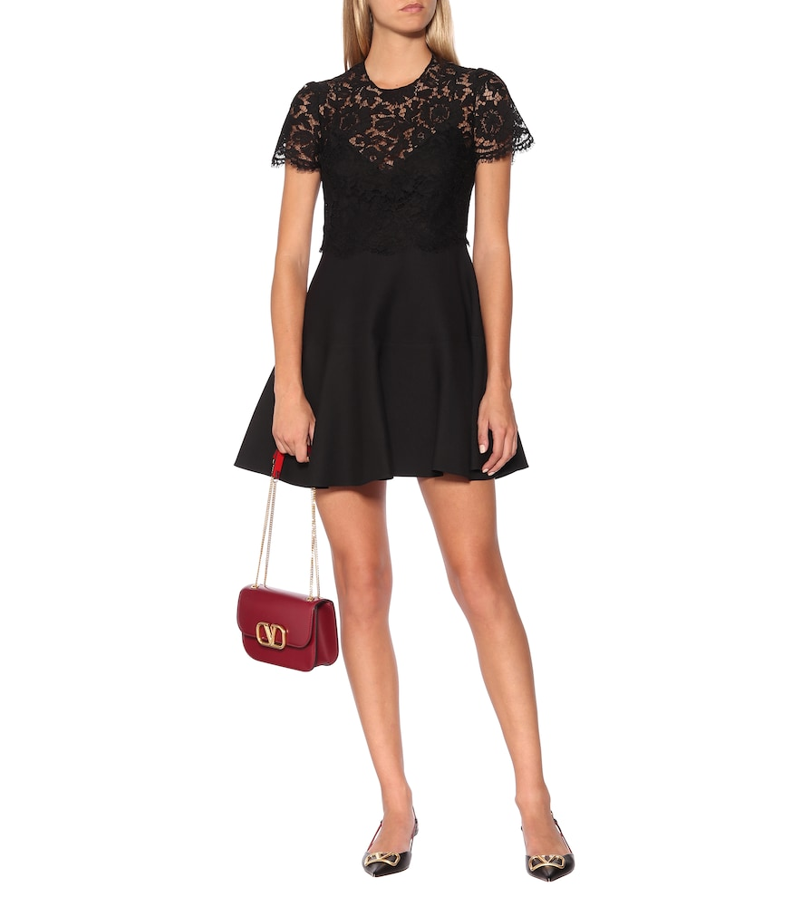 Lace-trimmed silk and wool minidress by Valentino