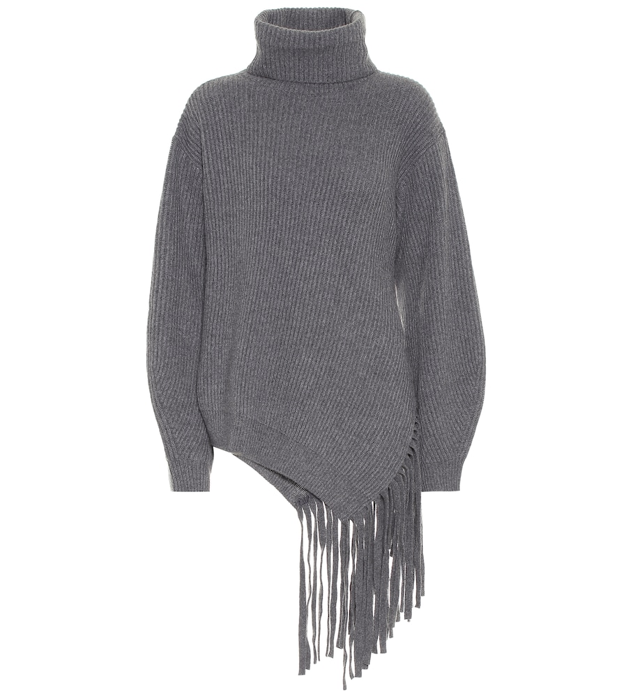 Fringed cashmere and wool sweater