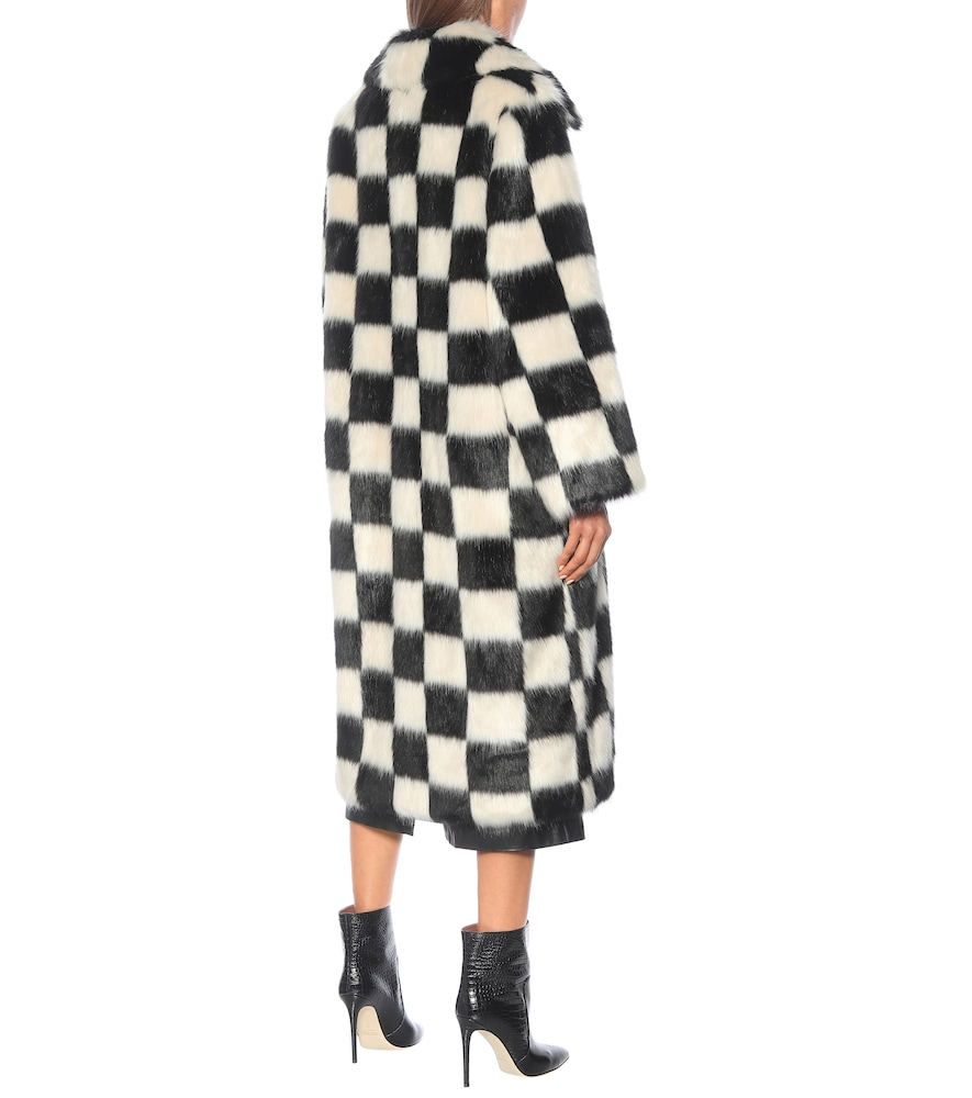 STAND STUDIO Furs NINO CHECKED FAUX FUR COAT