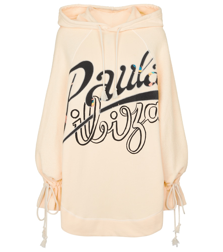 Loewe + Paula's Ibiza Oversized Printed French Cotton-terry And Jersey Hoodie In Ecru