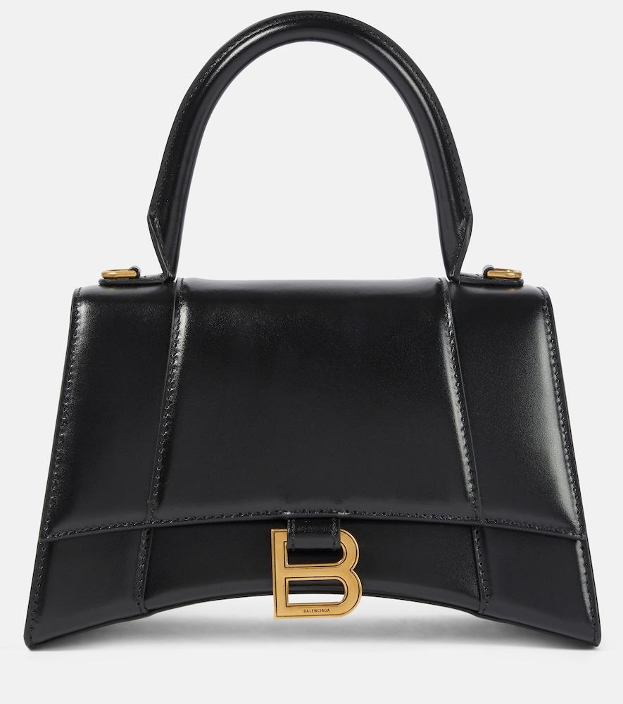 Balenciaga Hourglass Small Leather Tote In Black