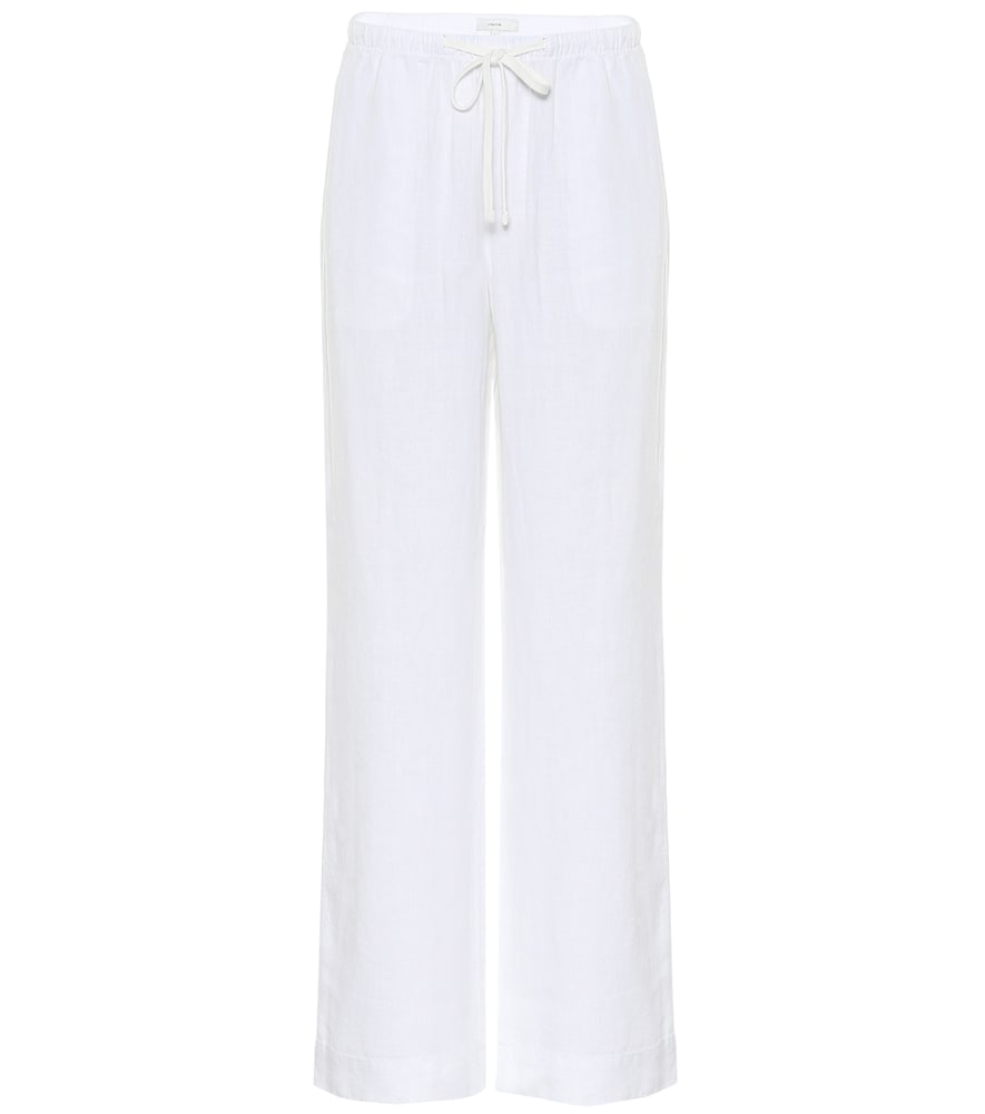 Vince Cropped Ribbed Cotton-jersey Wide-leg Pants In White