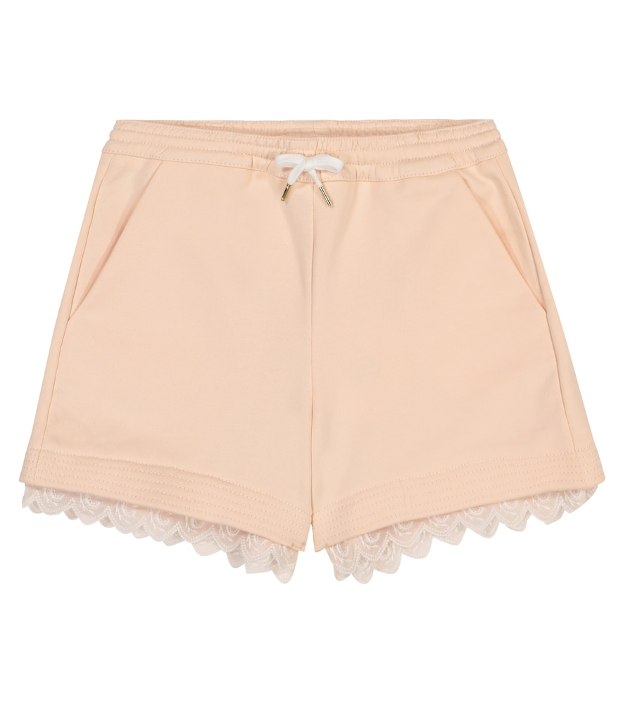 Chloé EMBROIDERED COTTON-BLEND SHORTS