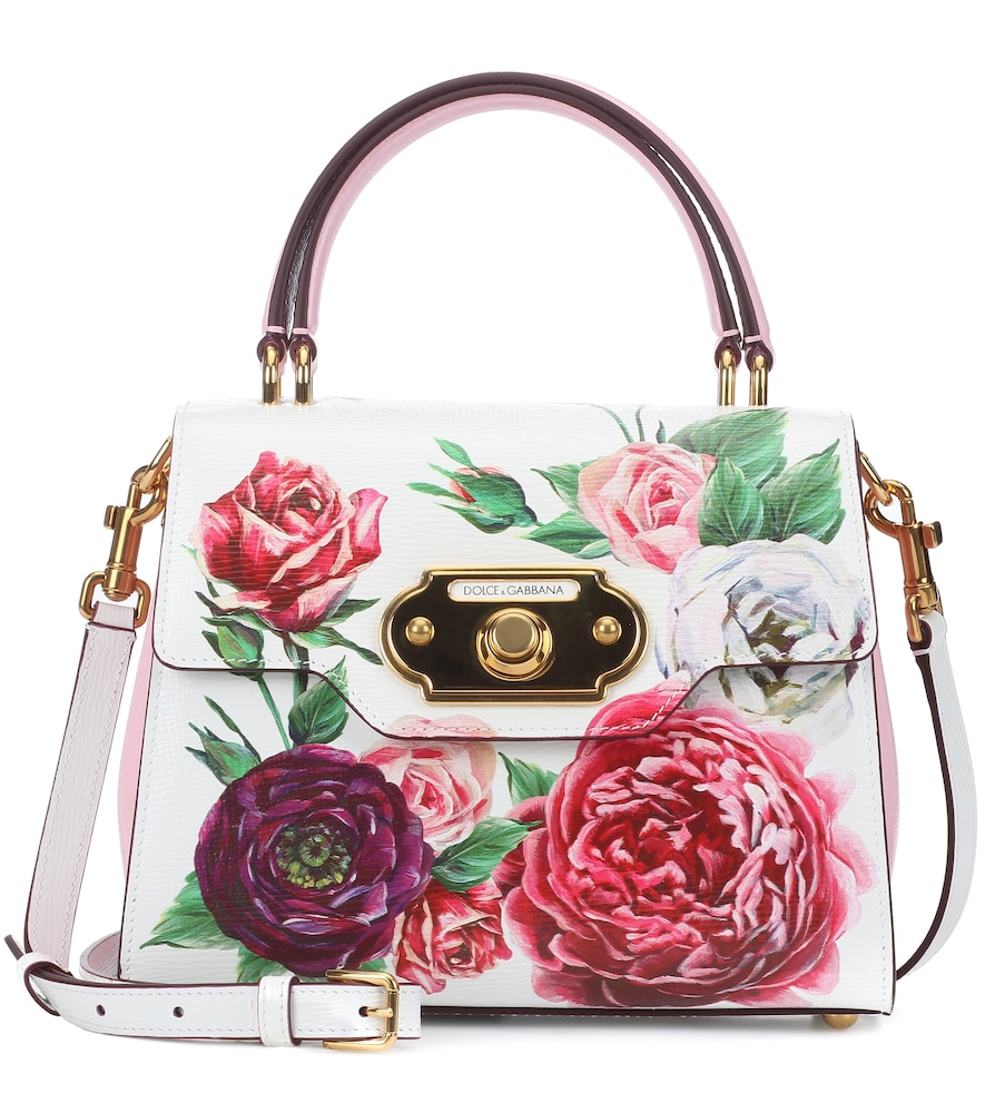 Medium Welcome Bag In Peony-Print Boarded Calfskin, Female