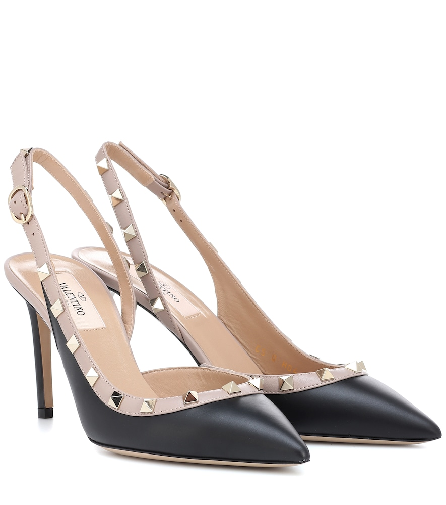 GARAVANI ROCKSTUD LEATHER SLINGBACK PUMPS