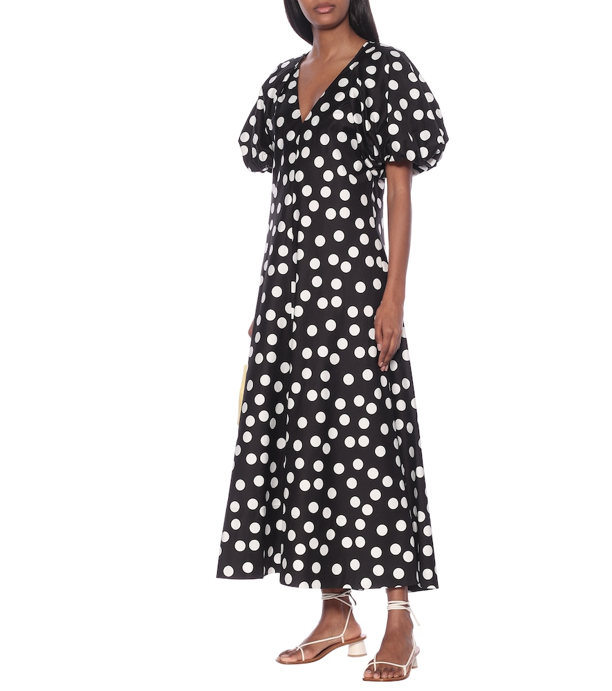 Cherry polka-dot cotton maxi dress by Lee Mathews