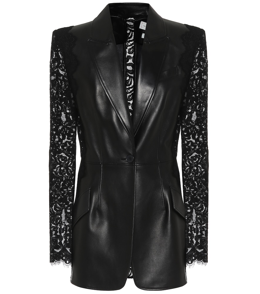 Lace-trimmed leather blazer by Alexander McQueen