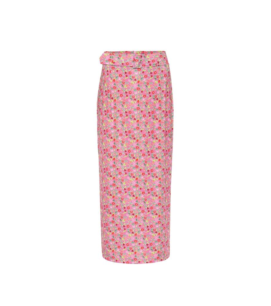 Monica floral stretch-jersey midi skirt