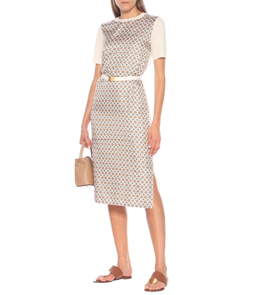 Silk twill and merino wool midi dress by Tory Burch