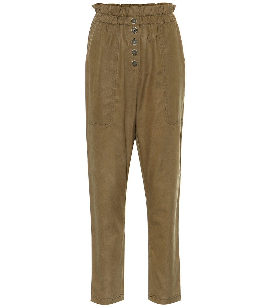 ULLA JOHNSON Owen Cotton-Blend Pants in Green