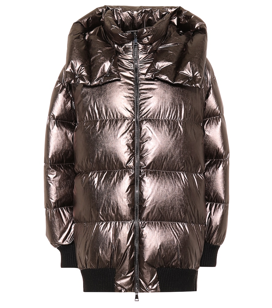 Quilted Metallic Shell Down Jacket in Bronze