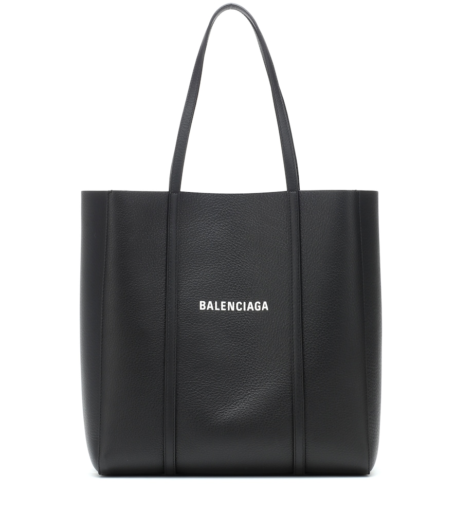 Small Everyday Logo Calfskin Tote - Black