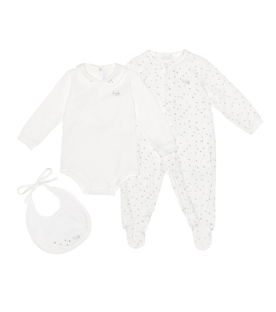 Bébé – Set grenouillère, body et bavoir en coton mélangé